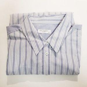 Equipment Femme Blue White Striped Shirt Large